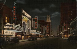 Theater Row at Night - Elm Street Looking East