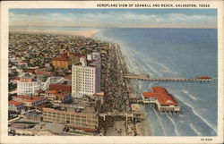 Aeroplane View of Seawall and Beach Postcard