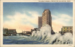 The Great Seawall Protecting Galveston Postcard
