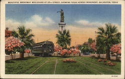 Beautiful Boulevard at 25th Street, Showing Texas Heroes Monument Postcard