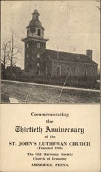 Commemorating the Thirtieth Anniversary of the St. John's Lutheran Church