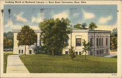 Looking North at Rockwell Library, Kent State University Postcard