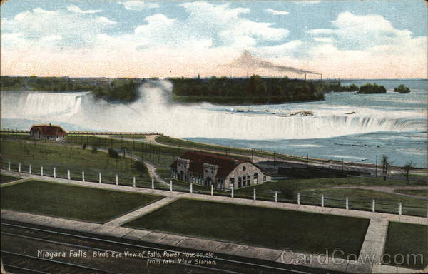 Niagara Falls, Bird's-Eye View of Falls, Power House, etc. from Falls View Station New York