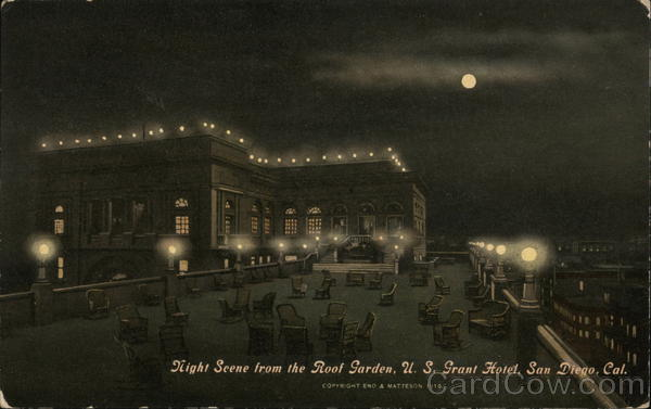 Night Scene from the Roof Garden, U. S. Grant Hotel San Diego California