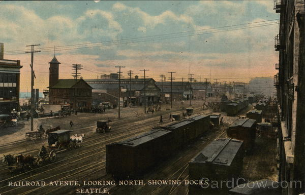 Railroad Avenue Looking North, Showing Docks Seattle Washington