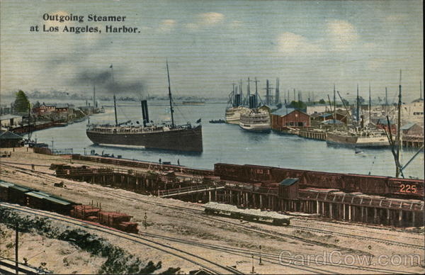 Outgoing Steamer at Los Angeles Harbor California