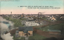 Bird's Eye View of South Part of Geary, Okla. Postcard