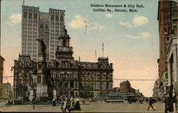 Soldiers Monument & City Hall, Cadillac Sq.