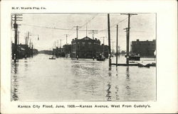 Kansas City Flood, June, 1908 - Kansas Avenue, West from Cudahy's