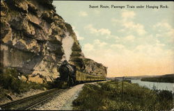 Sunset Route - Passenger Train Under Hanging Rock