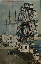 The Ferries Wheel & Restaurant Ship at the Pier Postcard