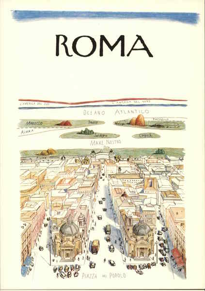 Roma Cartoon Map Rome Italy Postcard - Rome map cartoon