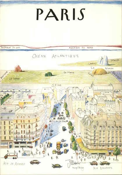 Map Of France Cartoon.Paris Cartoon Map Drawing France Postcard