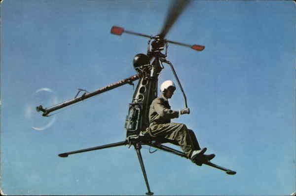 US Navy Hiller One-Man Helicopter XROE-1 Official U.S. Navy Photograph