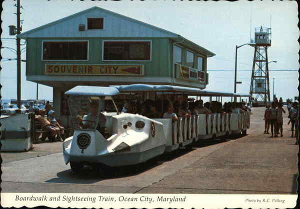 Boardwalk and Sightseeing Train Ocean City Maryland