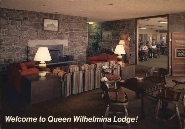 lobby of queen wilhelmina lodge mena ar postcard. Black Bedroom Furniture Sets. Home Design Ideas