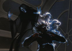 Star Wars - Emperor strikes Luke with bolts of energy.