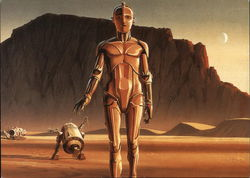 Star Wars C-3PO and R2-D2 on Tatooise. Detail from a production painting.