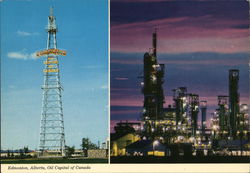 "Edmonton ""Oil Capital of the World"" Sign and Refineries Postcard"