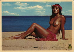 """Maile,"" a Polynesian Beauty Sunning on a Beautiful Secluded Beach"