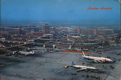 Aerial View of London Airport Postcard