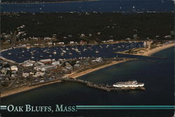 Aerial View of Town and Vineyard Haven Harbor