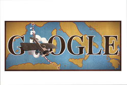 Google Doodle 2013, Airplane Above World Map