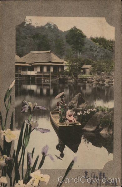 Japanese Women in Boat - Hand Colored
