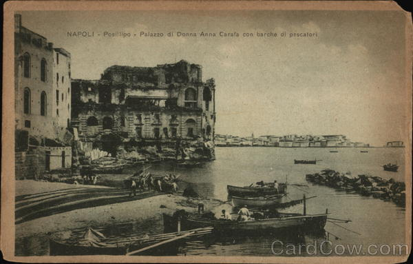 Posillipo - Palazzo di Donna Anna Carafa and Fishing Boats Naples Italy