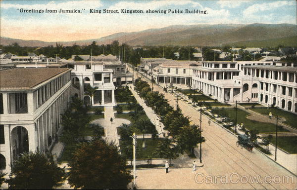 Greetings from Jamaica King Street, Kingston, showing Public Building