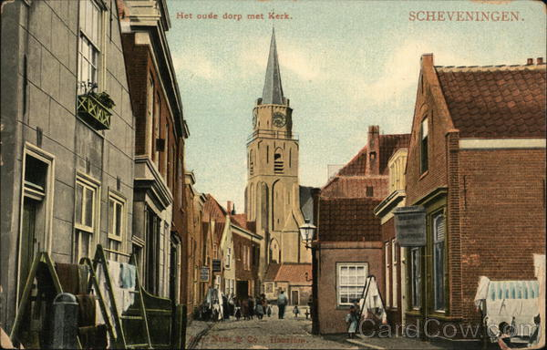 Street Scene and Church Scheveningen Netherlands Benelux Countries