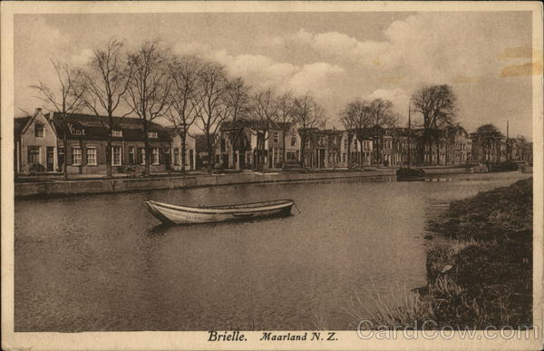 Canal and Houses Brielle Netherlands Benelux Countries