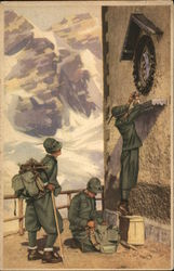 Italian 'Alpini' (Mountain Soldier) pray the virgin mary
