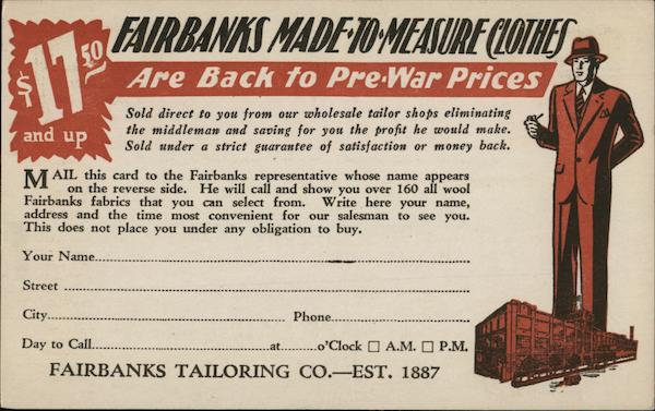 Fairbanks Tailoring Co. Advertising