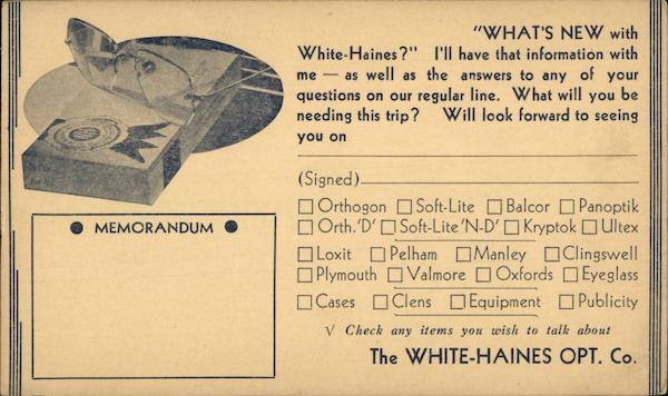 White-Haines Opitcal Company Advertising