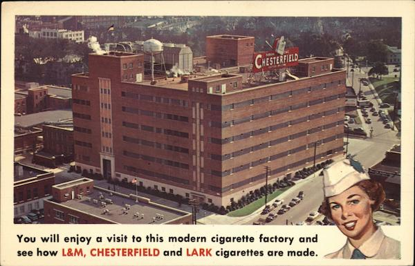 Chesterfield, L&M, and Lark Cigarette Factory Durham North Carolina
