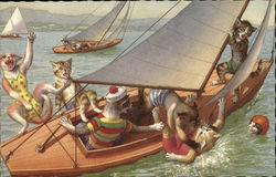 Seven cats falling from a sailboat.