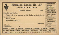 Hermion Lodge #27 Knights of Pythias 1950's