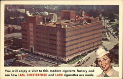 Chesterfield, L&M, and Lark Cigarette Factory Postcard