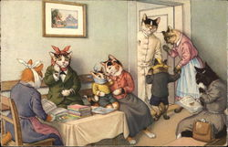 Cats Dressed as Humans Go to the Dentist
