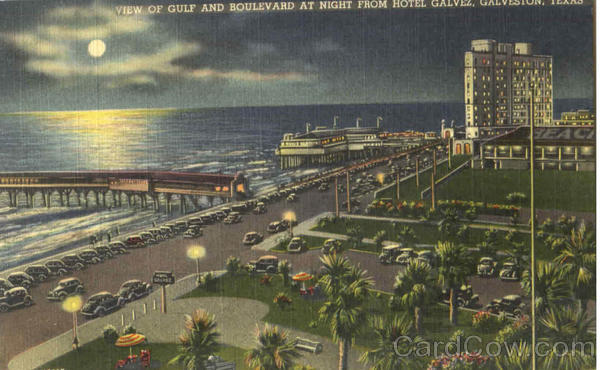 View Of Gulf And Boulevard At Night From Hotel Galvez Galveston Texas