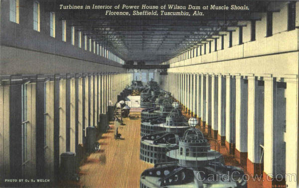 Turbines In Interior Of Power House Of Wilson Dam Muscle Shoals Alabama