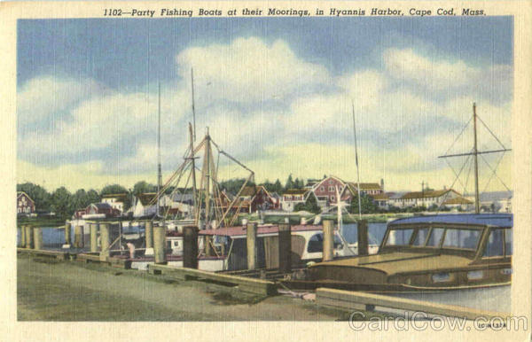 Party Fishing Boats At Their Moorings , Hyannis Harbor Cape Cod Massachusetts