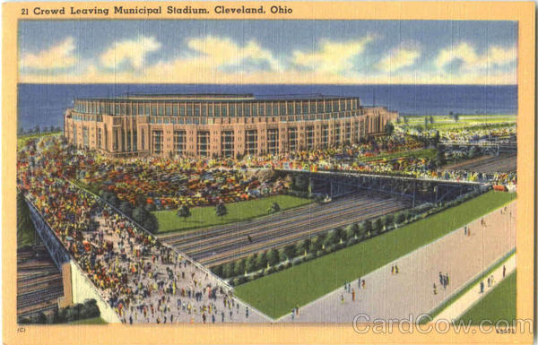 Crowd Leaving Municipal Stadium Cleveland Ohio