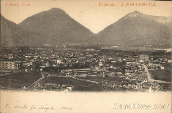 View of Town and Mountains Domodossola Italy