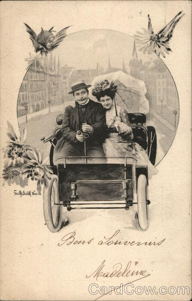 Couple in Early Automobile Vienna Austria