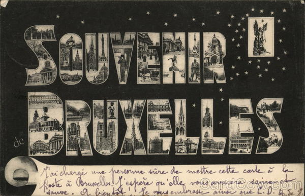 Greetings from Brussels Belgium Benelux Countries Large Letter