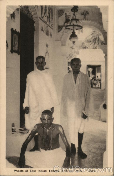 Priests at East Indian Temple, Trinidad, B.W.I. Caribbean Islands