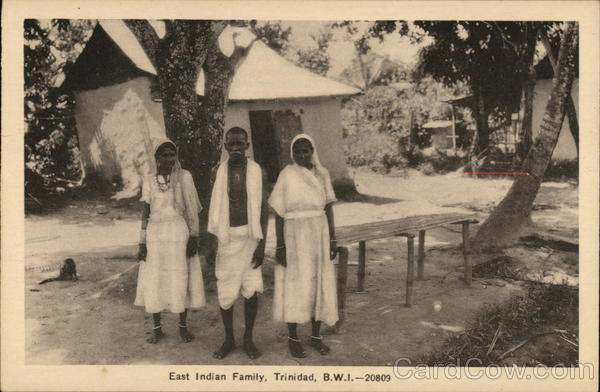 East Indian Family, Trinidad, B.W.I. Caribbean Islands