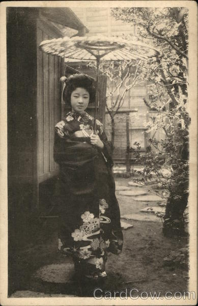 A young Japanese woman wearing typical dress